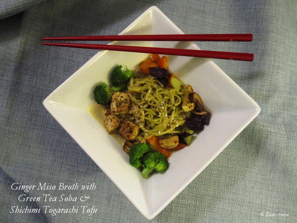 Ginger Miso Broth with Green Tea Soba Shichimi Togarashi Tofu and Vegetable Stir Fry