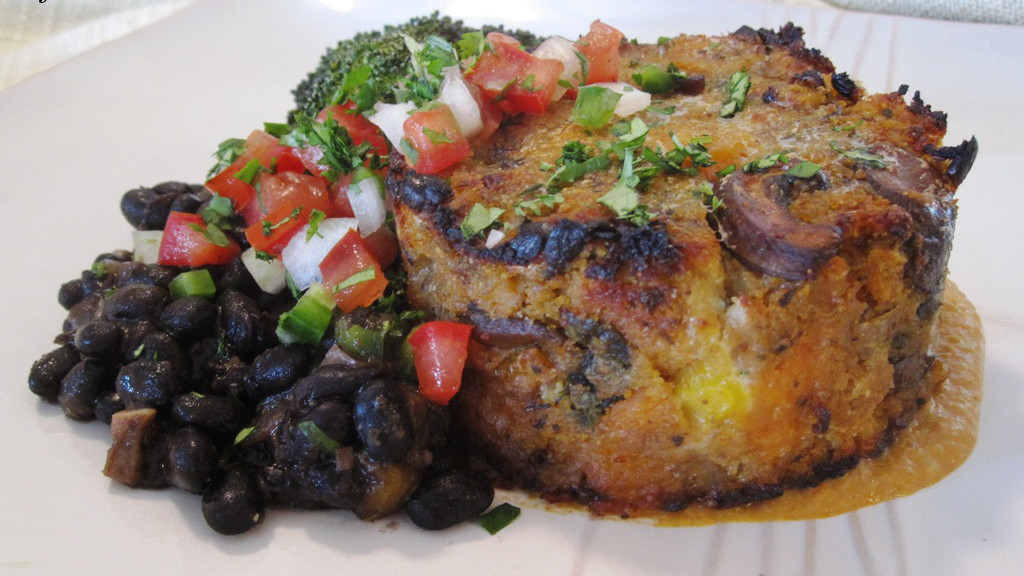 Sofrito Cornbread Strata with Sweet Potatoes, Poblanos, and Mushrooms; Roasted Chile Cream Sauce; Frijoles Negros
