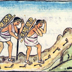 This 16th century drawing from Bernardino de Sahagun's history of New Spain depicts Aztec pochteca traders en route. This is the manner in which cacao travelled the trade routes.