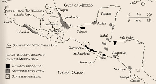 The Olmecs, Mayans, Aztecs, and cacao shared this region of Mesoamerica.