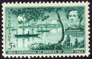 Stamp commemorating Perry's imperialistic mission to Japan, 1853.