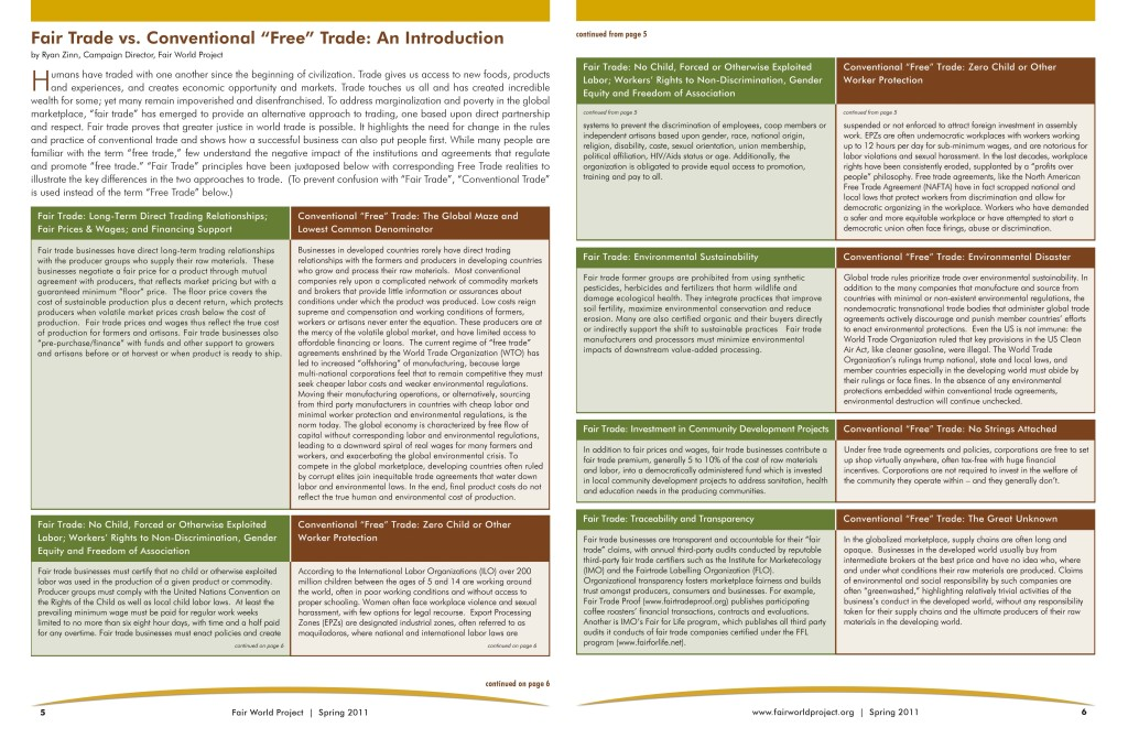 Comparison of Fair Trade vs. Free Trade, courtesy of Fair World Project, Spring 2011