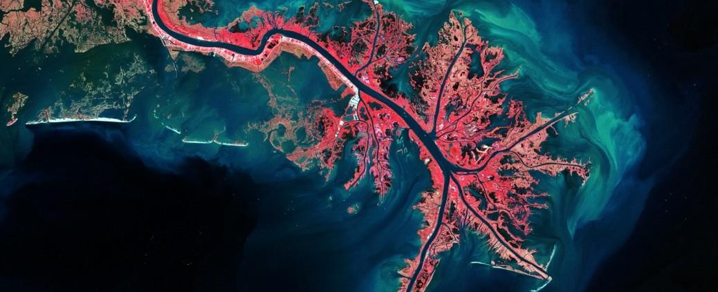 Mississippi River Delta, via Landsat, October 3, 2011