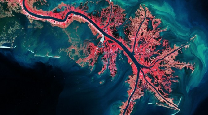Mississippi River Delta, via Landsat, October 3, 2011