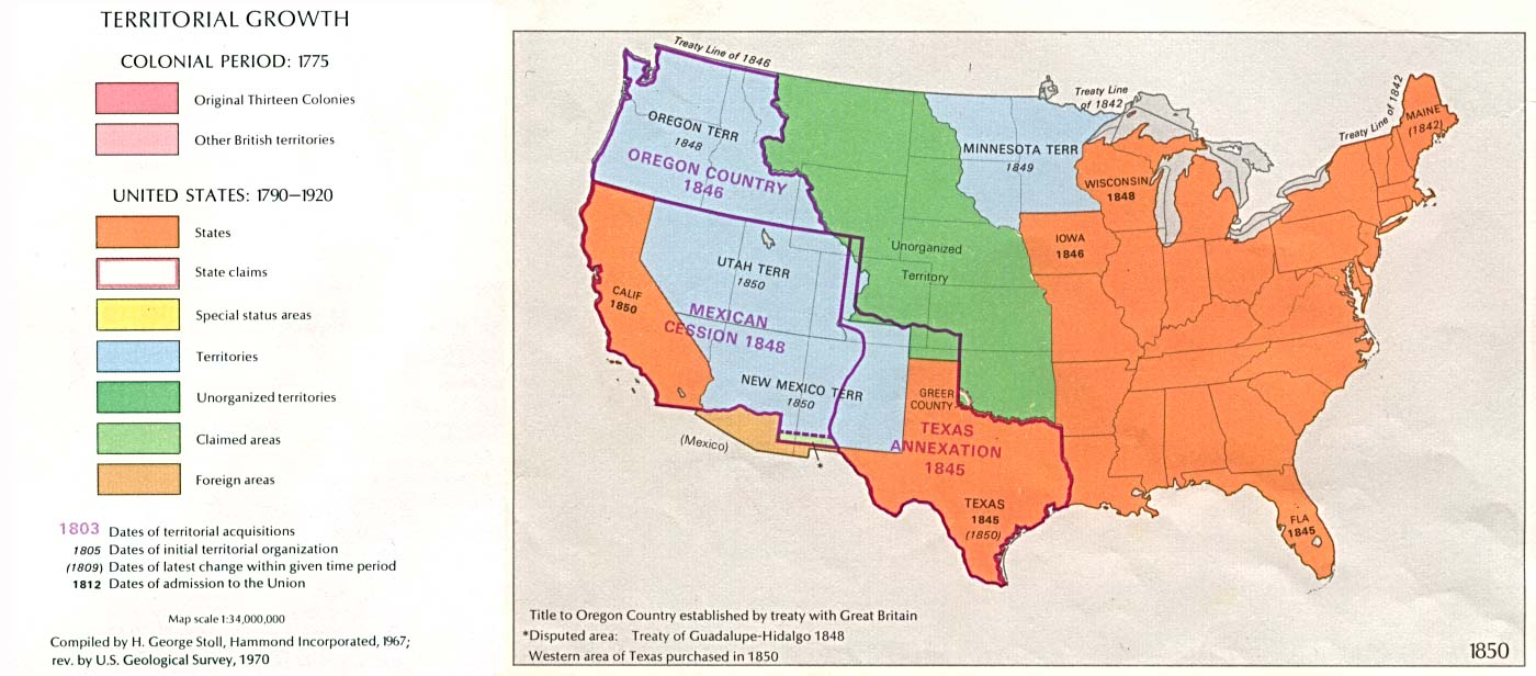 USA Territorial Growth, 1850.