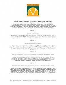 Menu from PMSC #4: American Harvest
