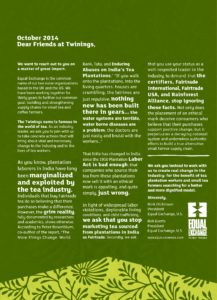 Equal Exchange's open letter to Twinings Tea, 2014, soliciting their help in keeping standards robust and tea workers safe.