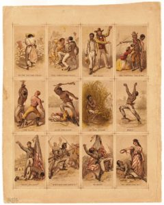 Romanticized propaganda from the North: Twelve illustrated cards present the journey of a slave from plantation life to the struggle for liberty, for which he gives his life, as a Union soldier during the Civil War. The messaging is overt, particularly in the last card, wherein the freed slave has died for white liberty. (Artists: James Fuller Queen and Henry Louis Stephens; 1860s)