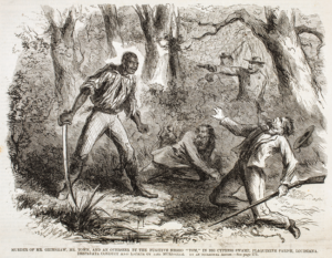 "Propaganda such as this was circulated to foment panic in the population. ""Murder of Mr. Grimshaw, Mr. Town, and An Overseer by the Fugitive Negro 'Tom,' in Big Cypress Swamp, Plaquimine Parish, Louisiana. Desperate Conduct and Escape of the Murderer,"" New York Illustrated News, July 15, 1861: 172. Courtesy of American Antiquarian Society, Worcester."
