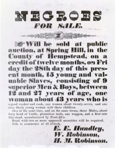 Poster advertising a sale of human beings, Hempstead County, Arkansas, 1850s.